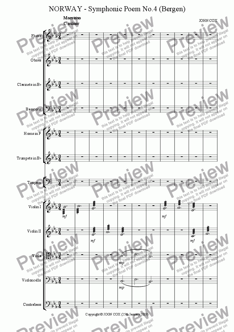 page one of the clarinet part from NORWAY - Symphonic Poem No.4 (Bergen)