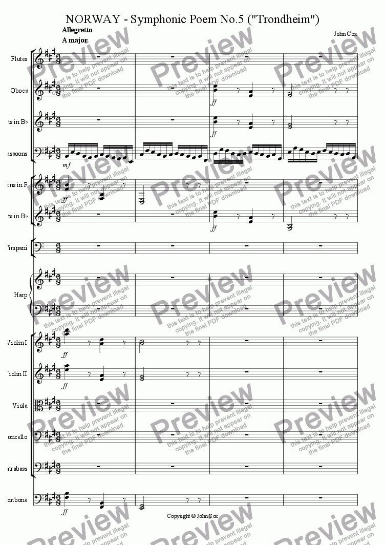 page one of the double bass part from NORWAY - Symphonic Poem No.5 (Trondheim)