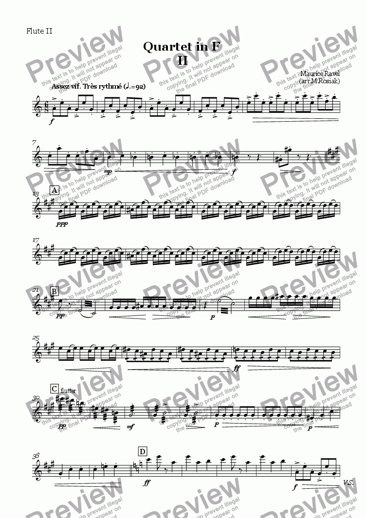 page one of the Flute II part from Quartet in F 2nd mov