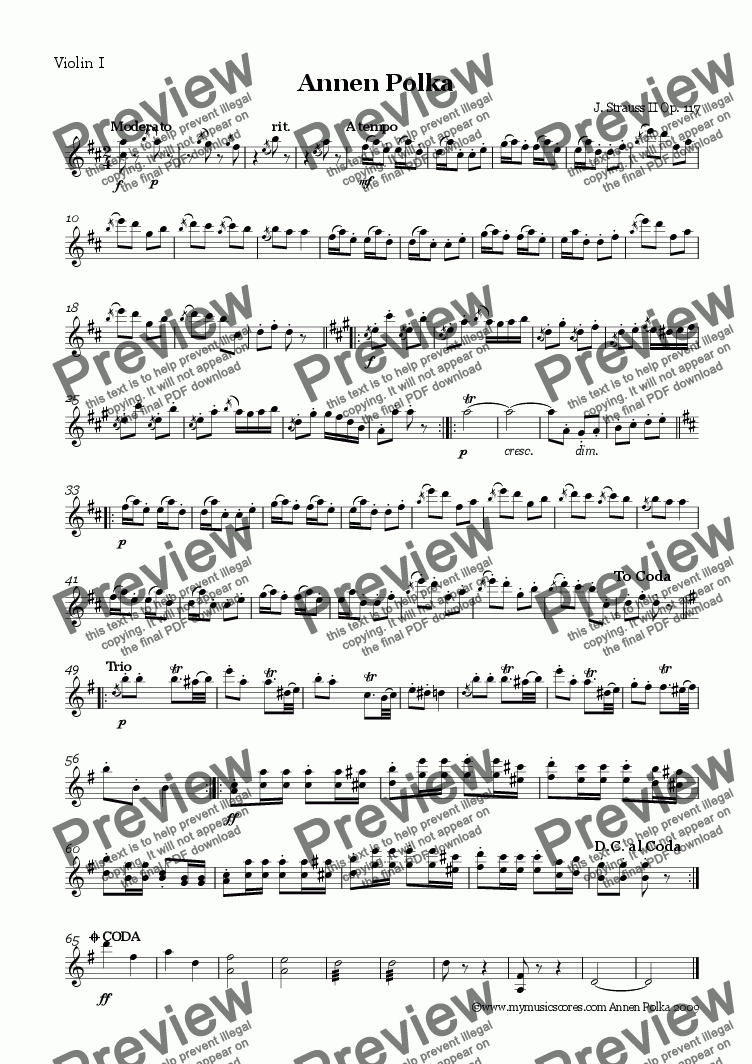 page one of the Violin 1 part from Strauss Annen Polka for String Orchestra