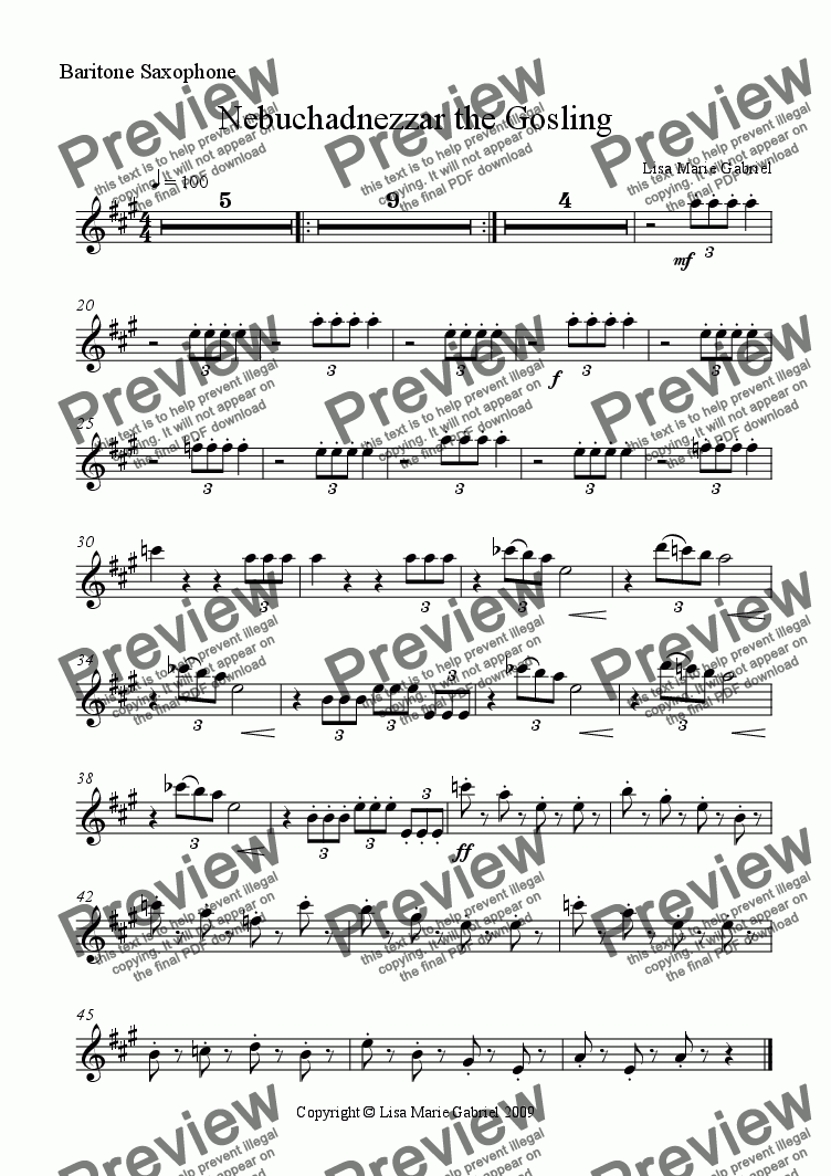 page one of the Baritone Saxophone part from Nebuchadnezzar the Gosling - Epic Overture for Concert Band