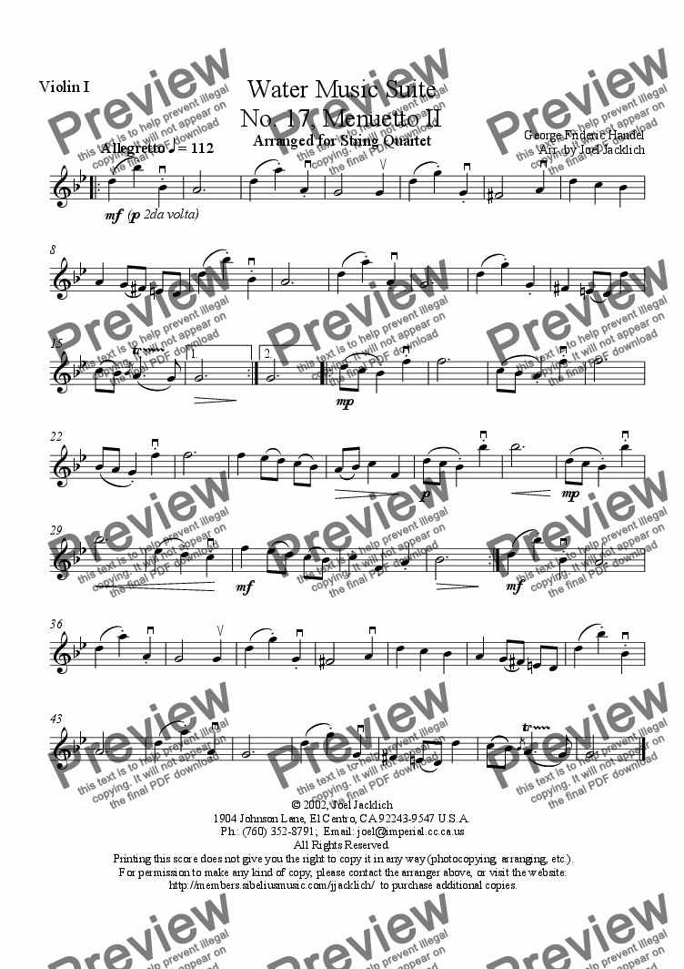 page one of the Violin I part from Water Music Suite, No. 17, Menuetto II (g min.)
