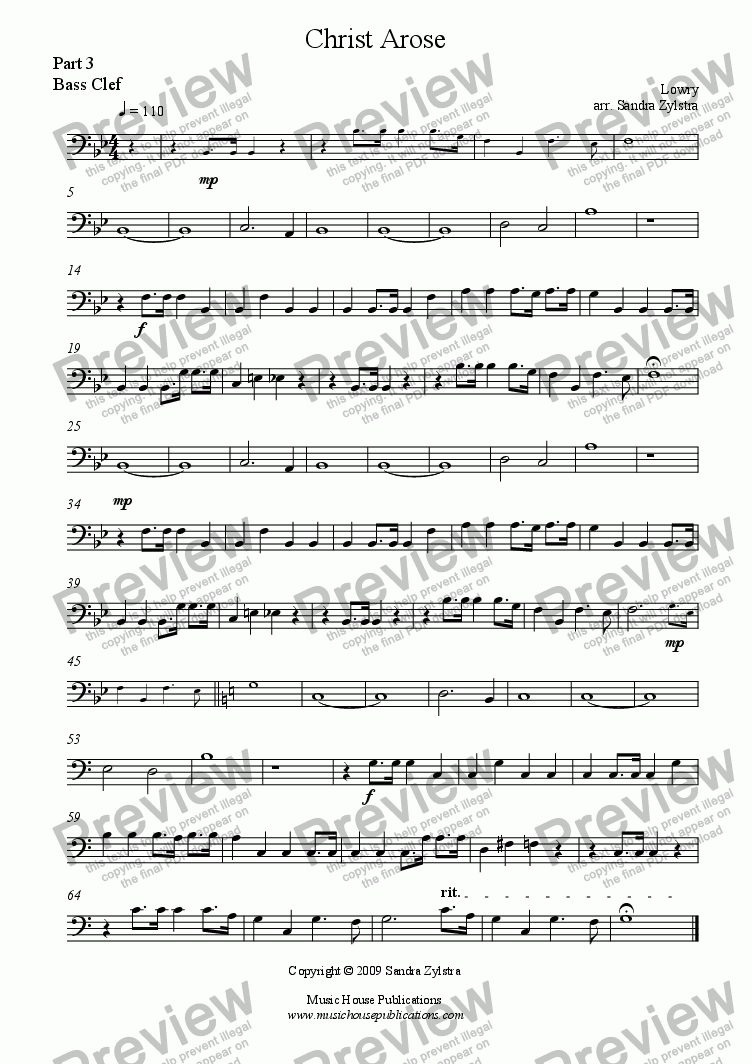 page one of the Christ Arose - Part 3, Bass Clef part from Instant Ensemble: Christ Arose