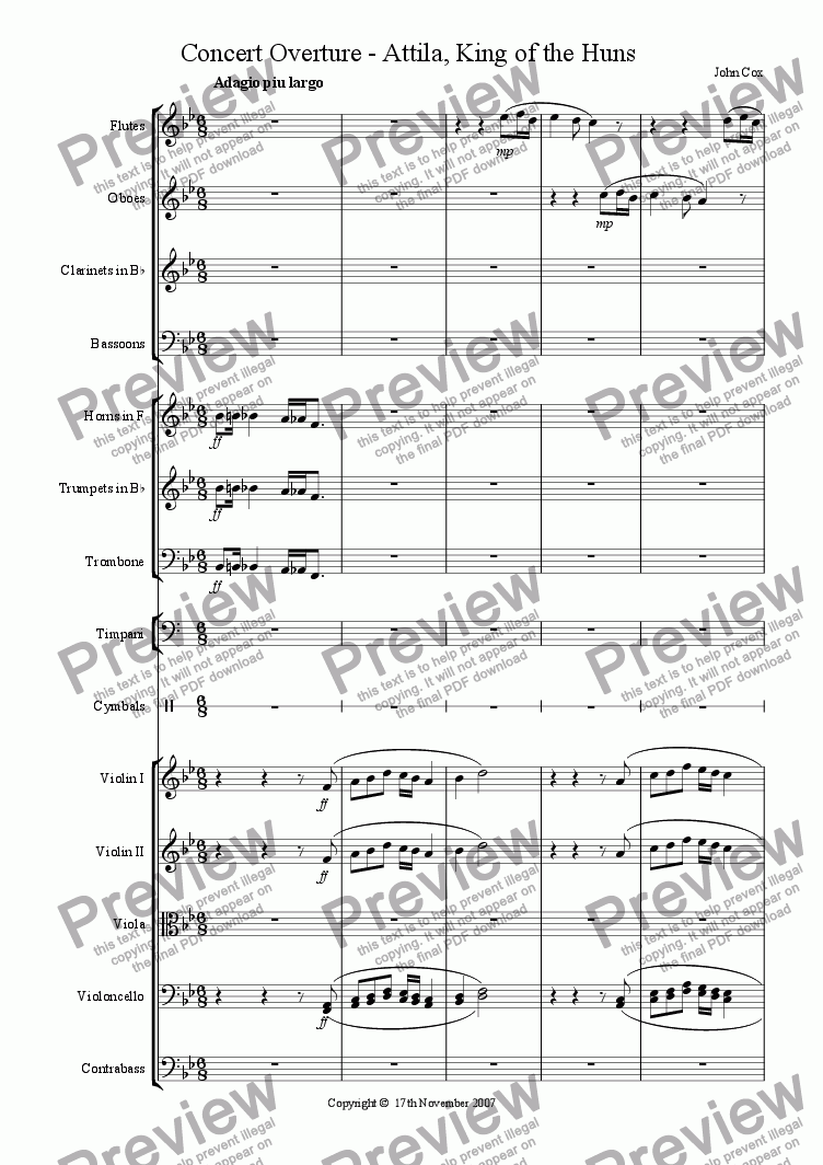 page one of the bassoon part from Concert Overture - Attila, King of the Huns