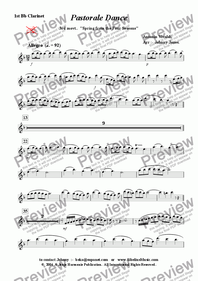 "page one of the 1st Bb Clarinet part from 4 Seasons The,  3rd movt.  Allego Pastorale ""Spring""  (Clarinet Choir)"