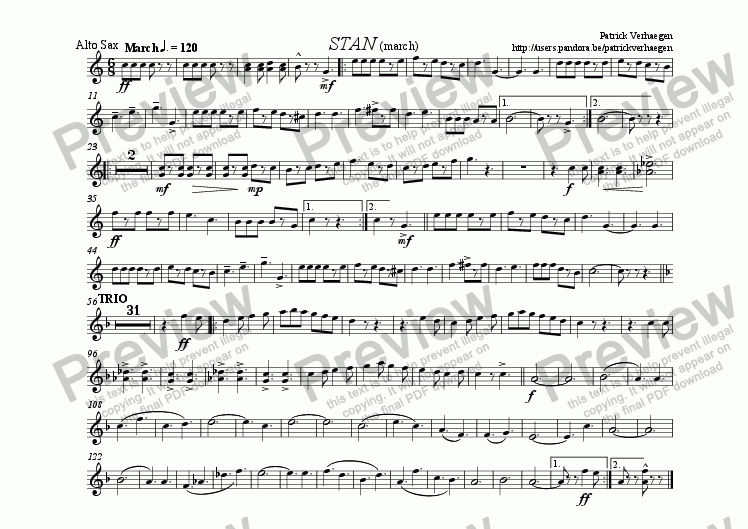 page one of the sax alt part from Stan (for fanfare band)