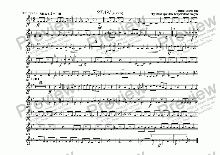 page one of the trompet 2 part from Stan (for fanfare band)