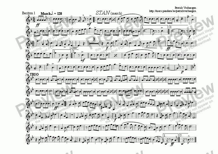 page one of the bariton 1 part from Stan (for fanfare band)