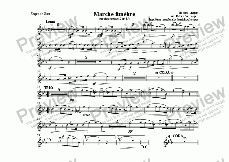 page one of the sax sopraan part from Marche Fun�bre (for fanfare band)