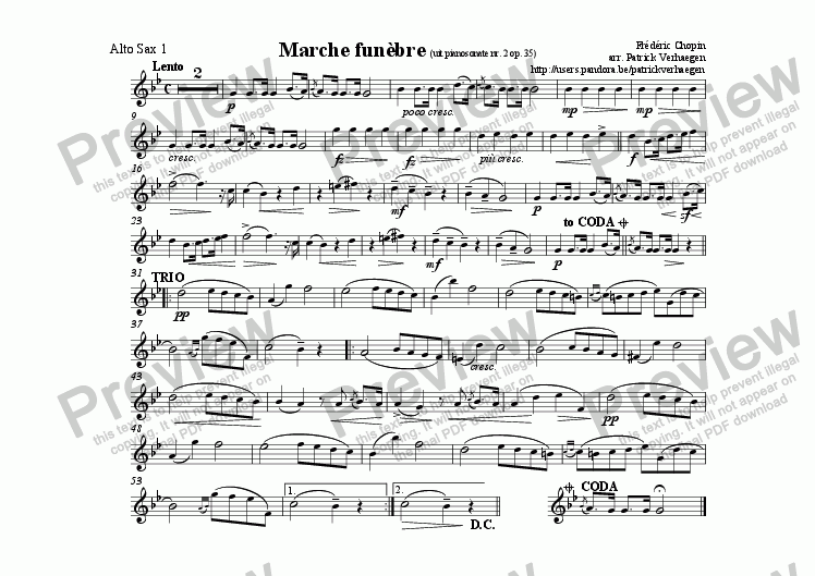 page one of the sax alt 1 part from Marche Fun�bre (for fanfare band)