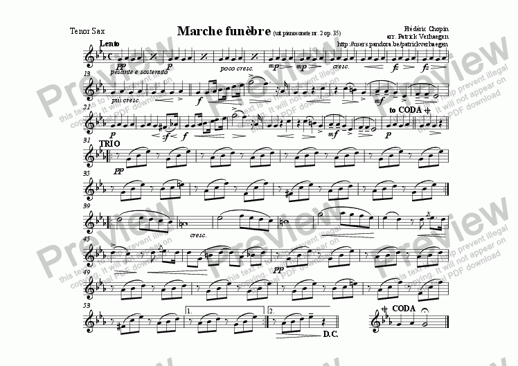 page one of the sax tenor part from Marche Fun�bre (for fanfare band)