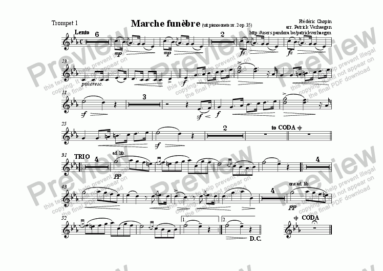 page one of the trompet 1 part from Marche Fun�bre (for fanfare band)
