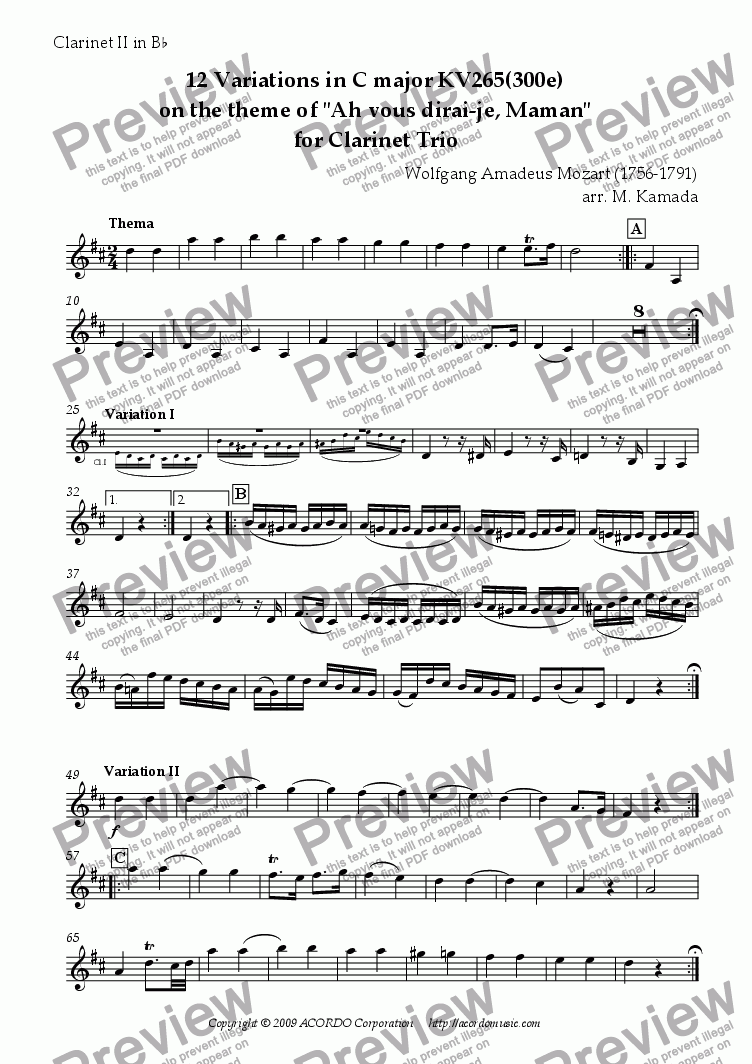 "page one of the Clarinet II in Bb part from 12 Variations in C major KV265(300e) on the theme of ""Ah vous dirai-je, Maman"" for Clarinet Trio"
