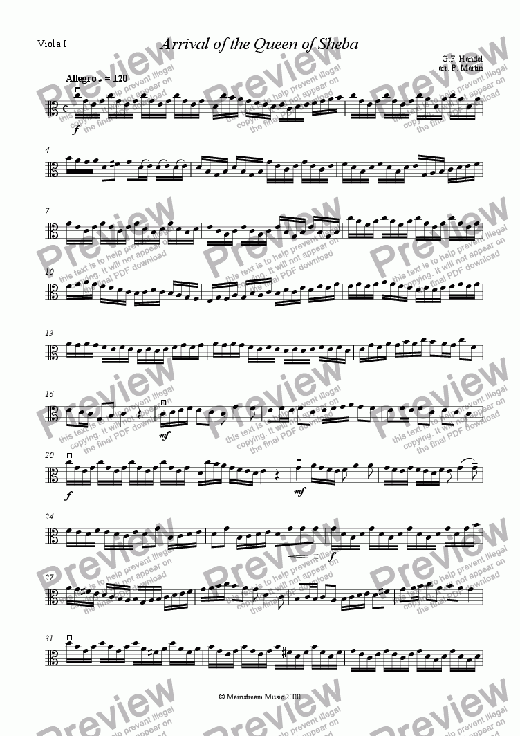 page one of the Viola I part from Arrival of the Queen of Sheba - Viola Quartet