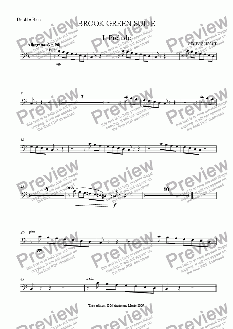 page one of the Bass part from Brook Green Suite