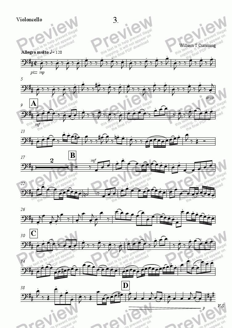 page one of the Violoncello part from Trio for Flute, Violin and Cello (3rd movement)