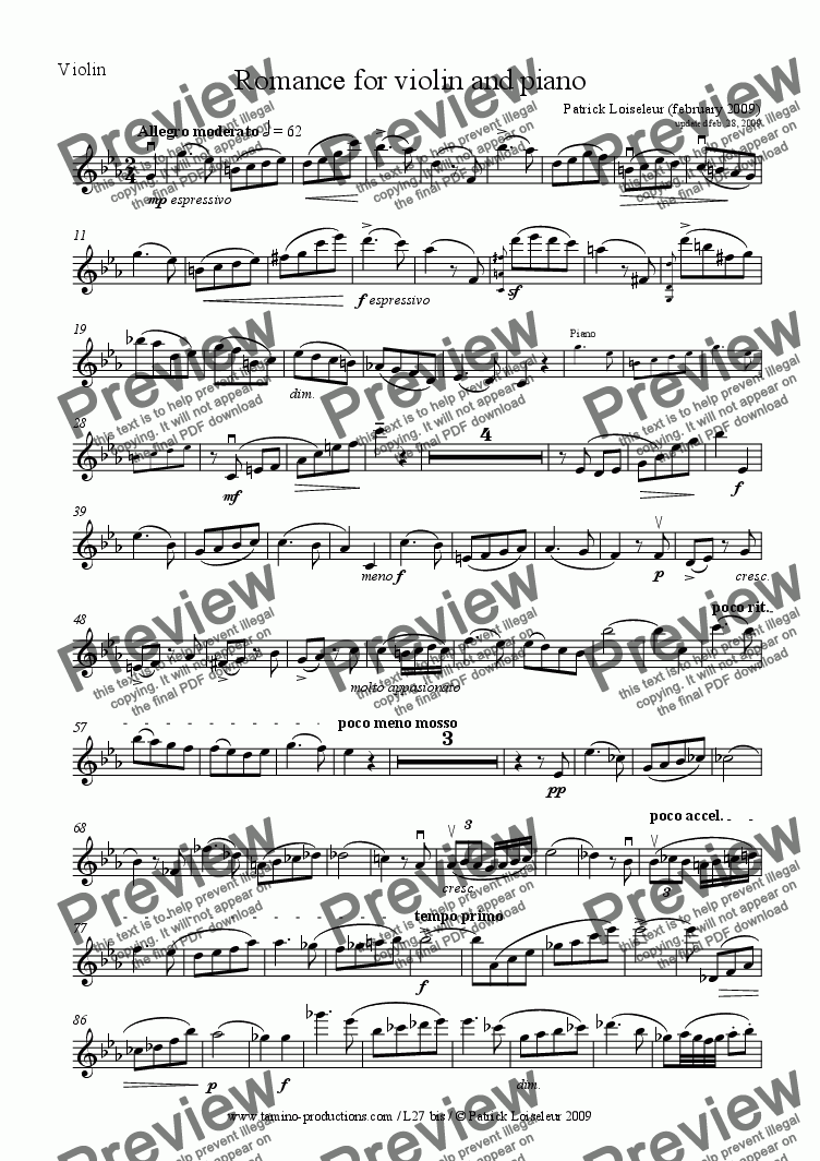 page one of the Violin part from Romance for violin and piano