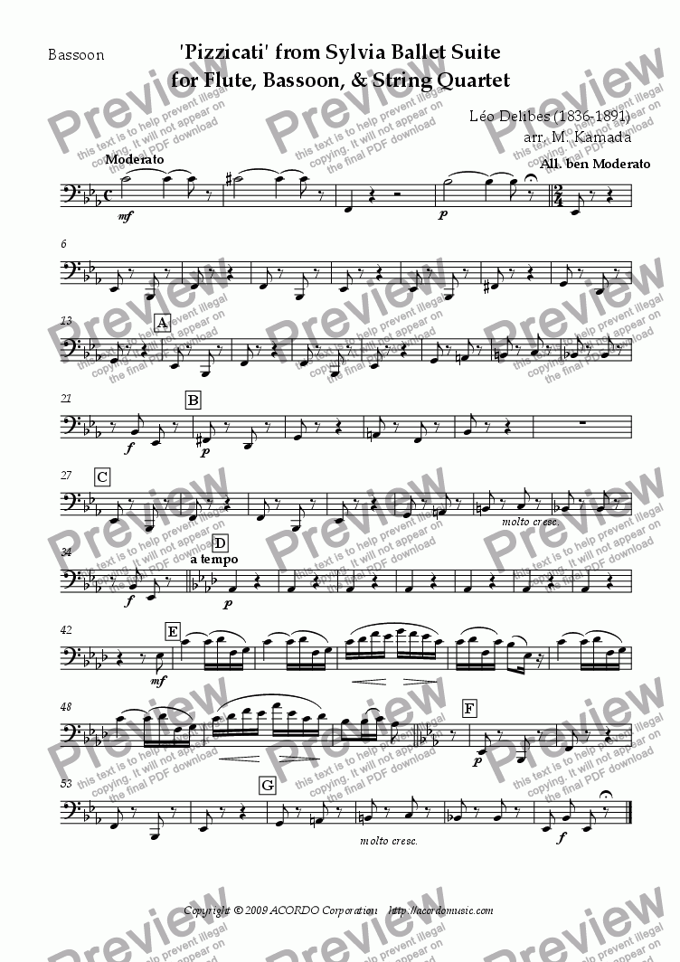 page one of the Bassoon part from 'Pizzicati' from Sylvia Ballet Suite for Flute, Bassoon and String Quartet