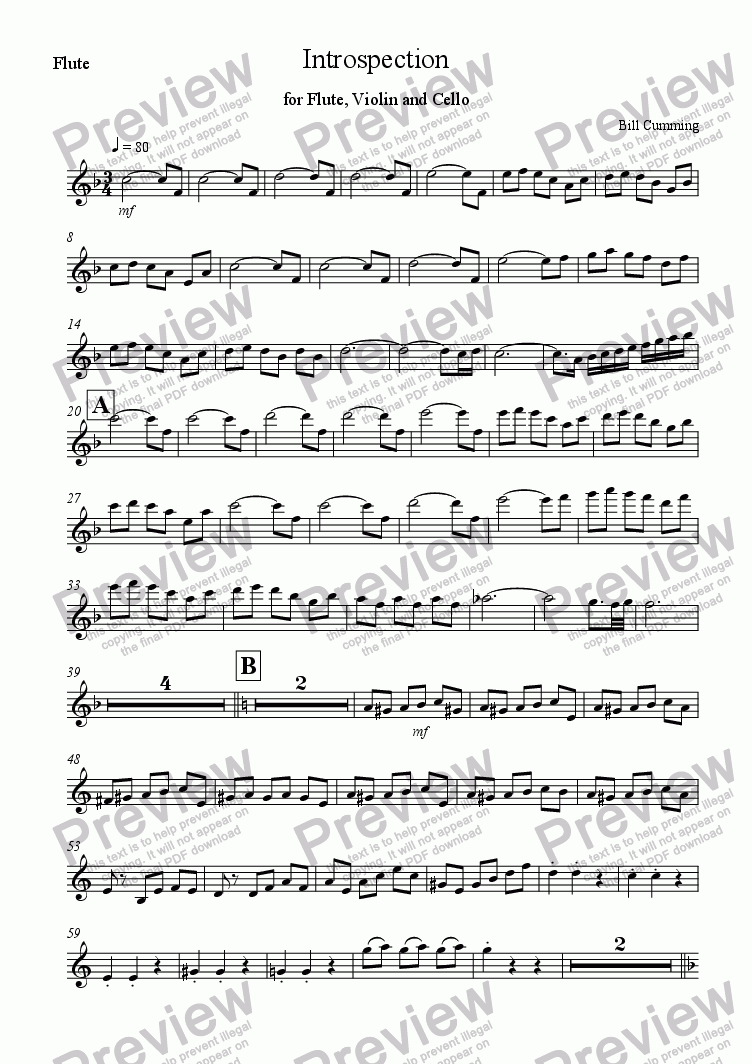 page one of the Flute part from Introspection for Flute, Violin and Cello