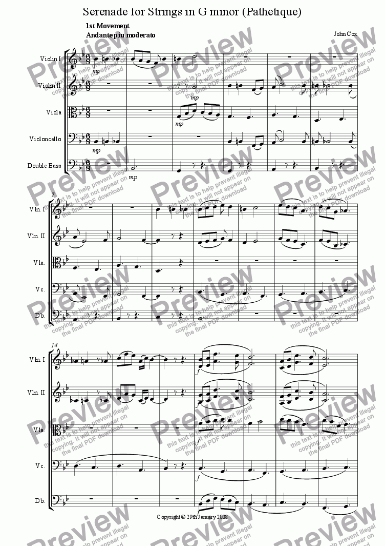 page one of the Violin II part from Serenade for Strings in G minor (Pathetique)