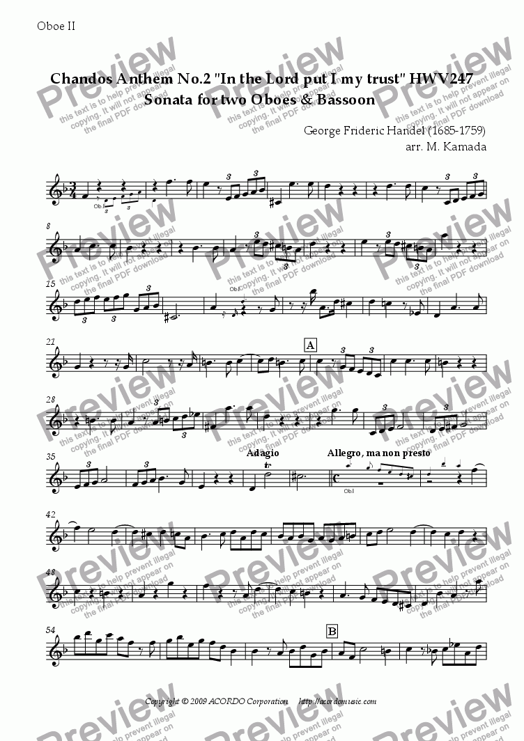 "page one of the Oboe II part from Chandos Anthem No.2 ""In the Lord put I my trust"" HWV247 Sonata for Double-Reeds Trio"