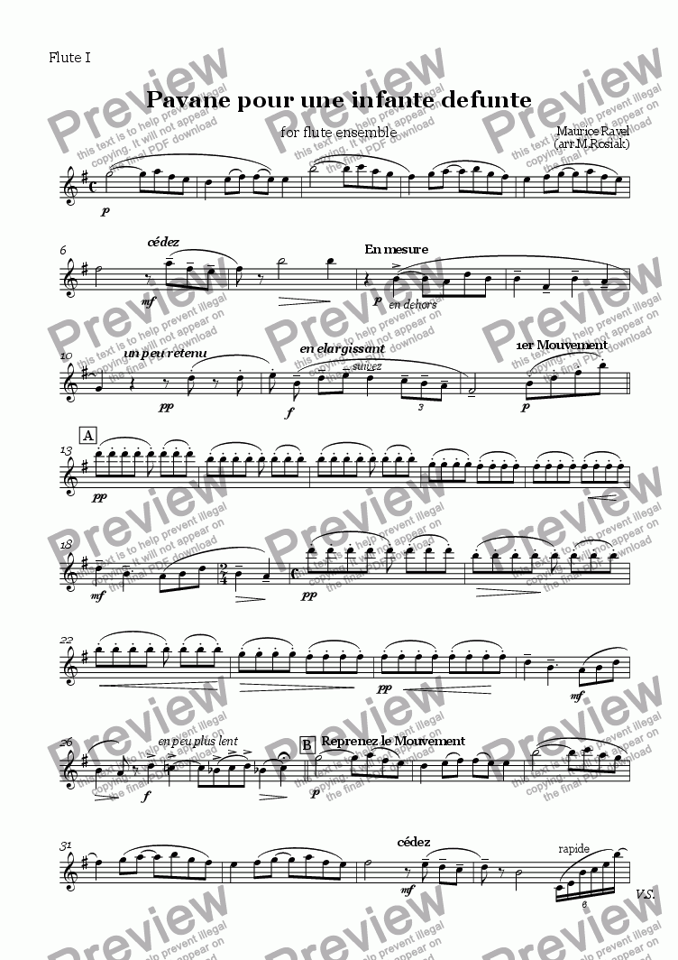 page one of the flute 1 part from Pavane pour une infante d�funte