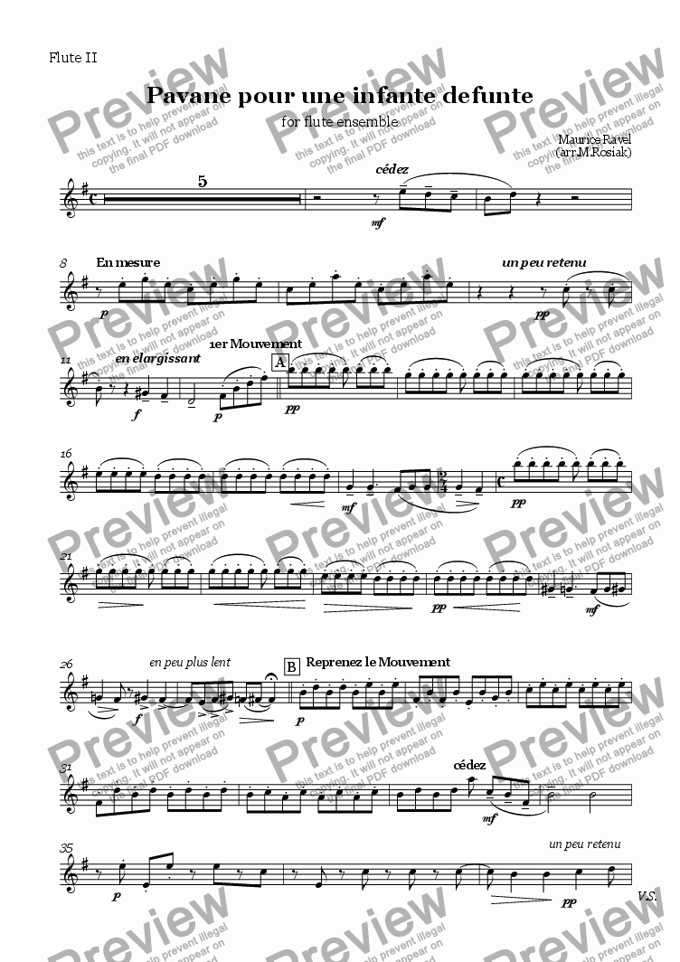 page one of the flute 2 part from Pavane pour une infante d�funte