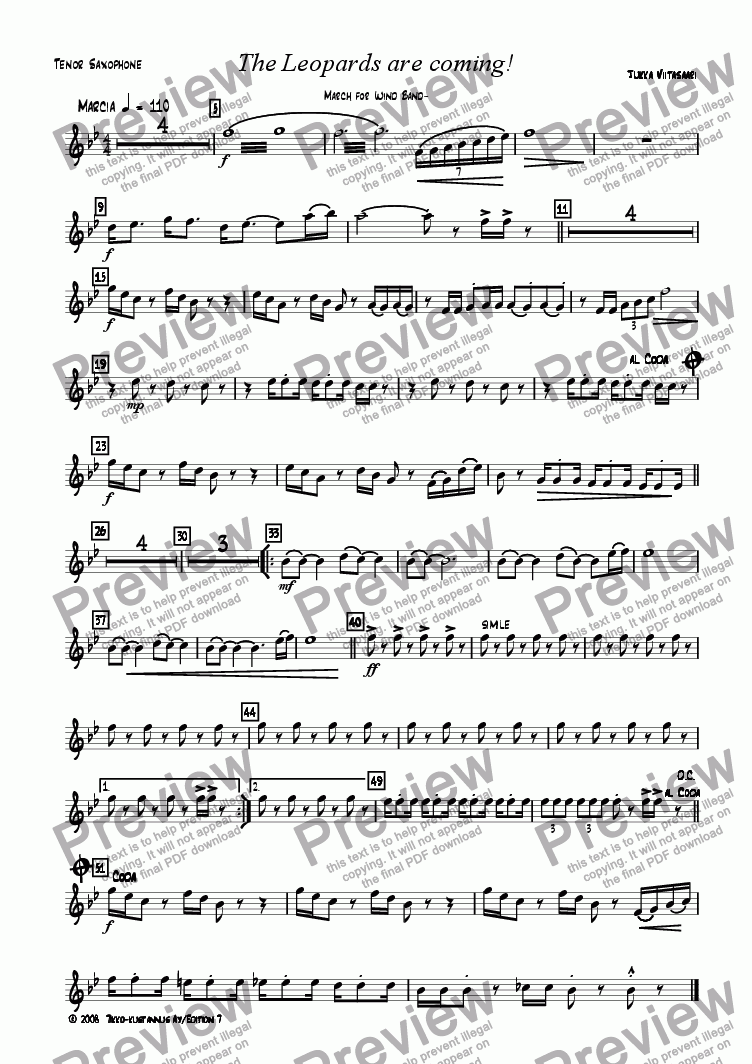 page one of the 9. Tenor Sax. part from The Leopards are coming! March for Wind Band