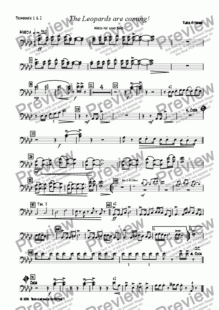 page one of the 15. Trombone 1&2 in C  B.C. part from The Leopards are coming! March for Wind Band