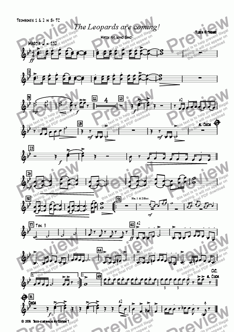 page one of the 16. Trombone 1&2 in Bb  T.C. part from The Leopards are coming! March for Wind Band
