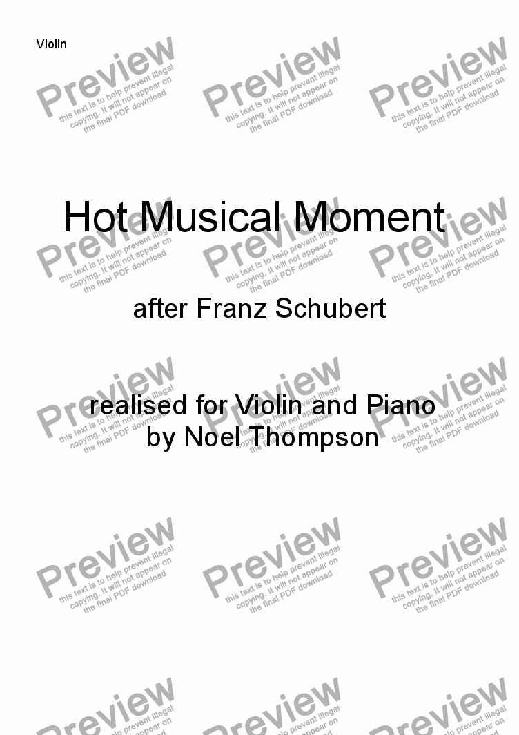 page one of the violin part from Hot Schubert Musical Moment ; realised for violin and piano -edited
