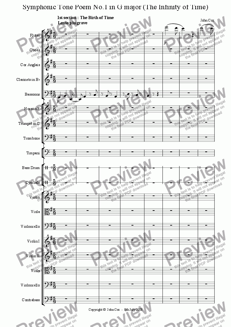 page one of the violin I part from Symphonic Tone Poem No.1 in G major (The Infinity of Time)