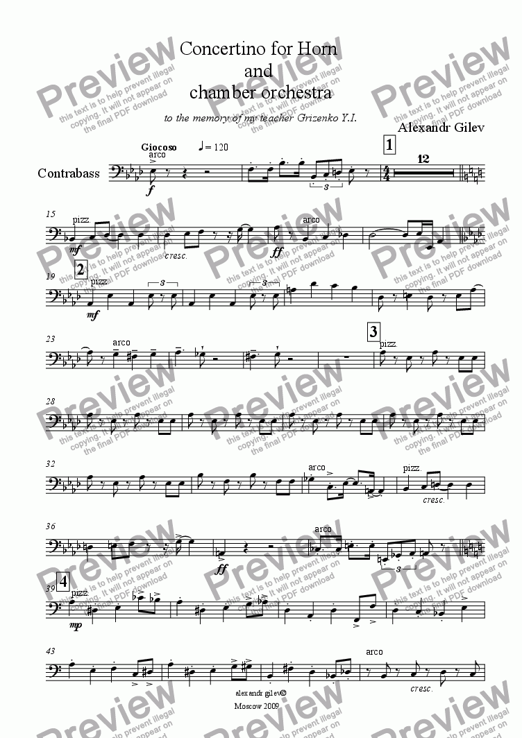 page one of the SCORRE Concertino Horn - Contrabass part from Concertino for Horn  and  chamber orchestra