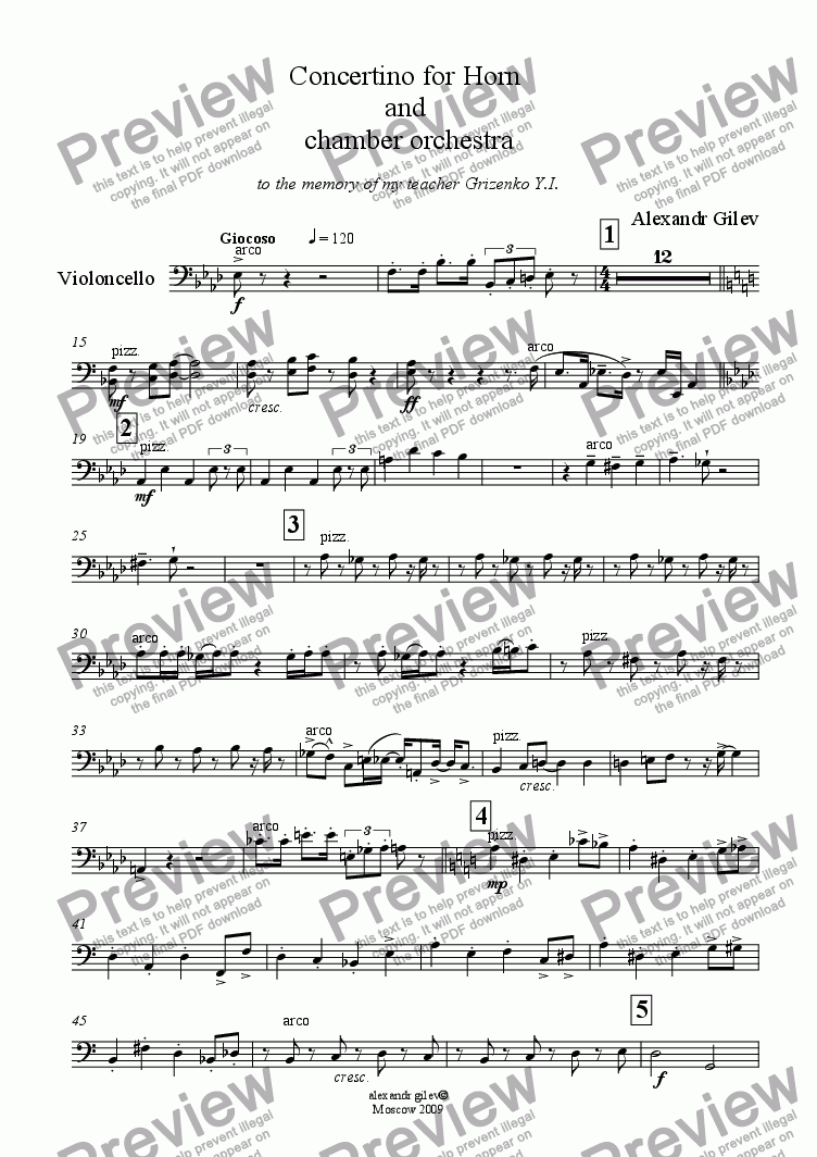 page one of the SCORRE Concertino Horn - Violoncello part from Concertino for Horn  and  chamber orchestra