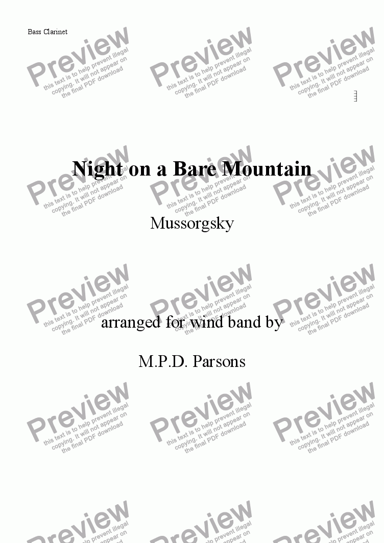 page one of the Bass Clarinet part from Night on a Bare Mountain