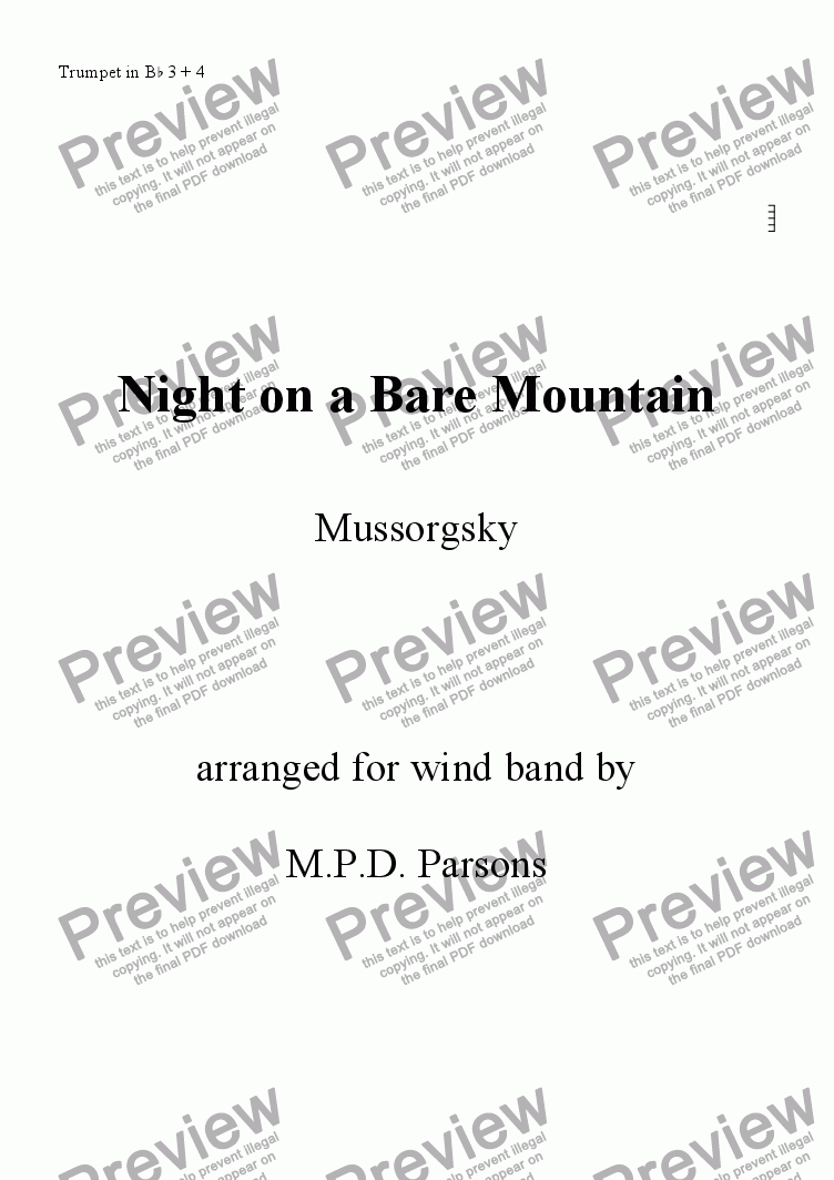 page one of the Trumpet 3, 4 part from Night on a Bare Mountain