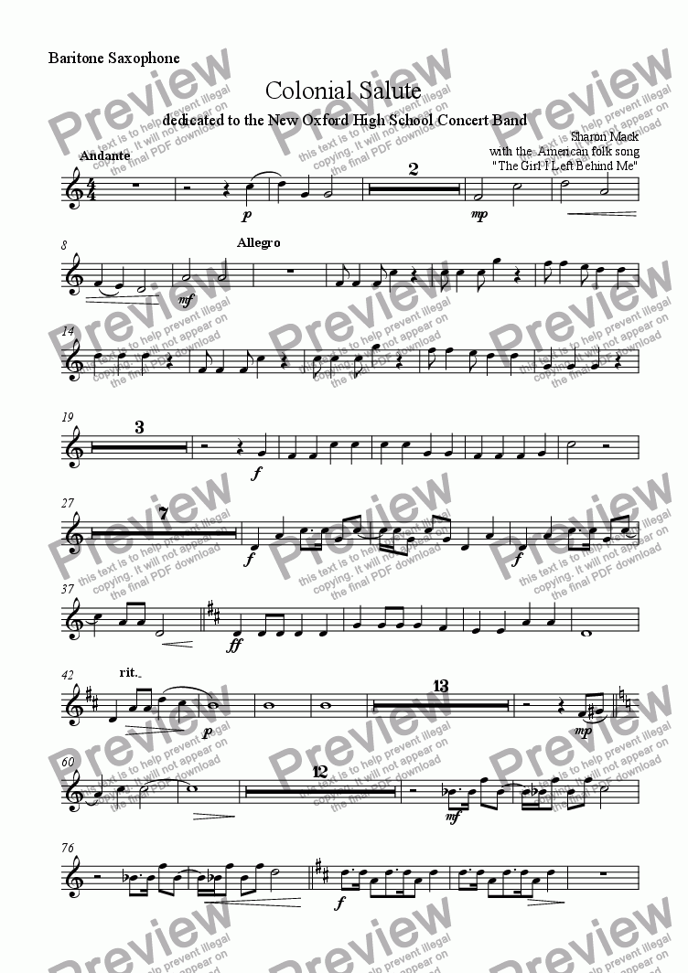 page one of the baritone saxophone part from Colonial Salute