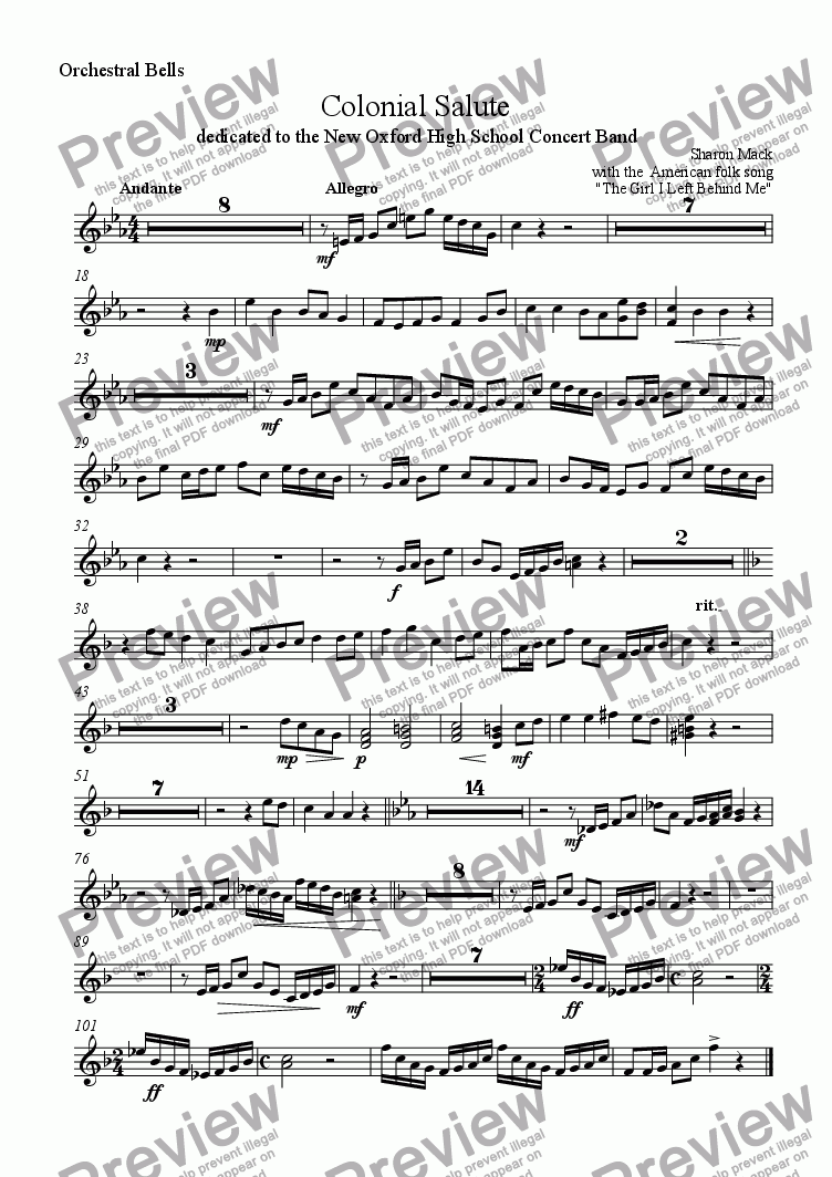 page one of the orchestra bells part from Colonial Salute
