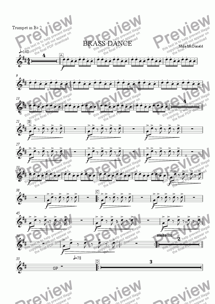 page one of the Trumpet  2 part from Brass Dance