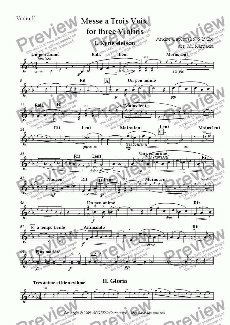 page one of the Violin II part from Messe a Trois Voix for three Violins