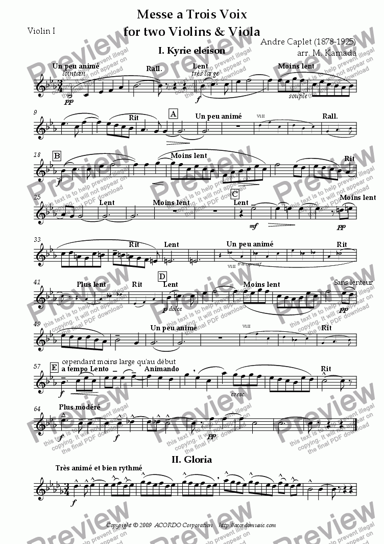 page one of the Violin I part from Messe a Trois Voix for two Violins & Viola