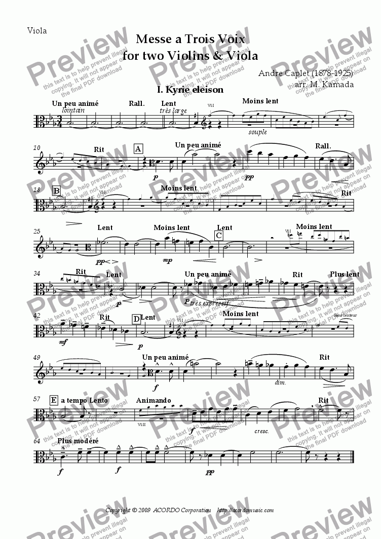 page one of the Viola part from Messe a Trois Voix for two Violins & Viola