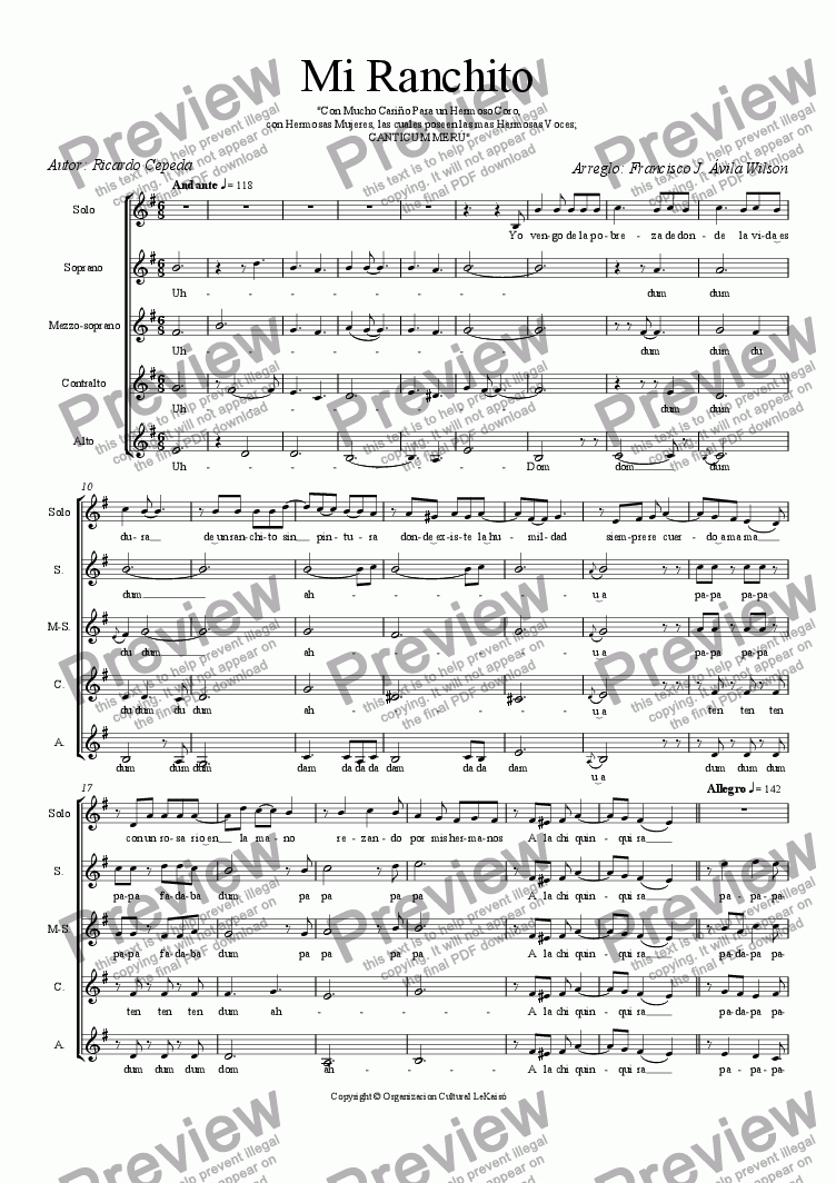 page one of the coro femenino - Gaita maracaibera - Venezuela part from Mi Ranchito