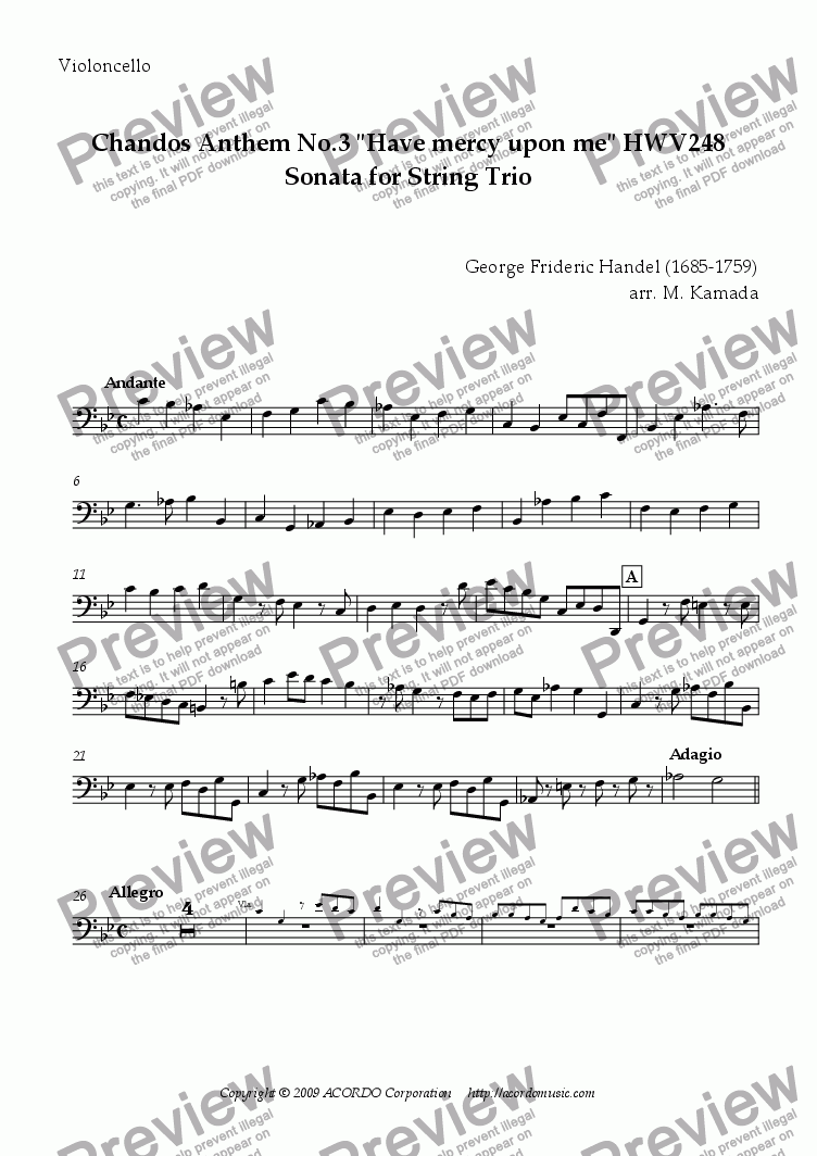 "page one of the Violoncello part from Chandos Anthem No.3 ""Have mercy upon me"" HWV248 Sonata for String Trio"
