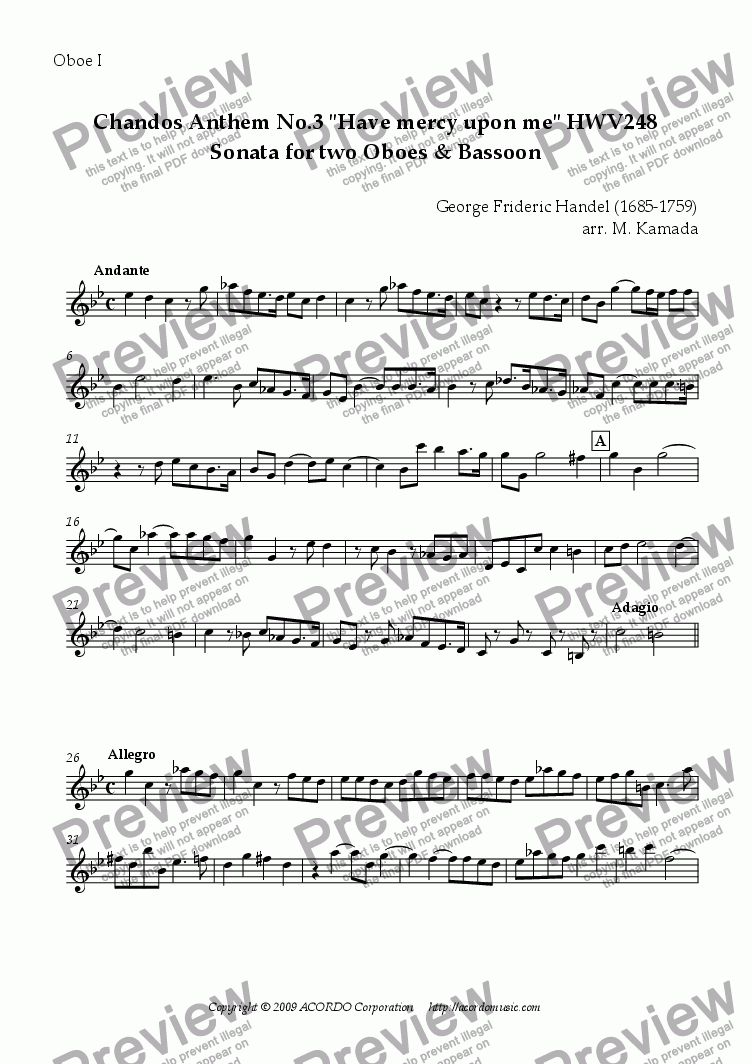 "page one of the Oboe I part from Chandos Anthem No.3 ""Have mercy upon me"" HWV248 Sonata for Double-Reeds Trio"