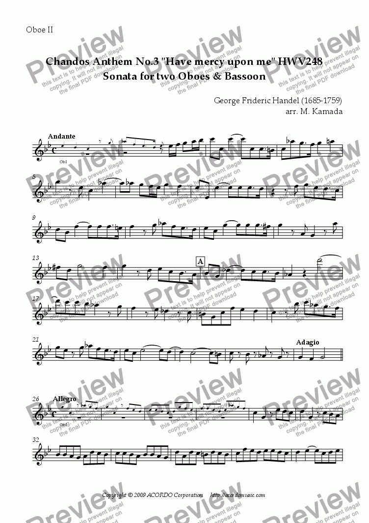 "page one of the Oboe II part from Chandos Anthem No.3 ""Have mercy upon me"" HWV248 Sonata for Double-Reeds Trio"