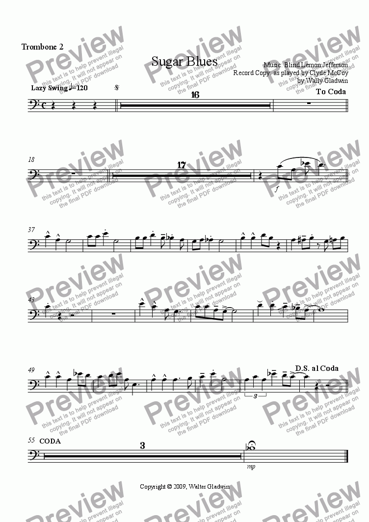 page one of the  Trombone 2 part from Sugar Blues (Big Band)