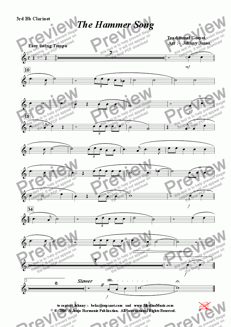 page one of the 3rd Bb Clarinet part from Hammer Song, The   (Swing, Clarinet Choir)