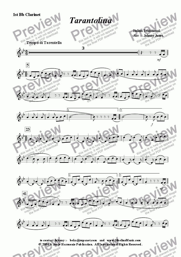 page one of the 1st Bb Clarinet part from Tarantolina    (Clarinet Choir)