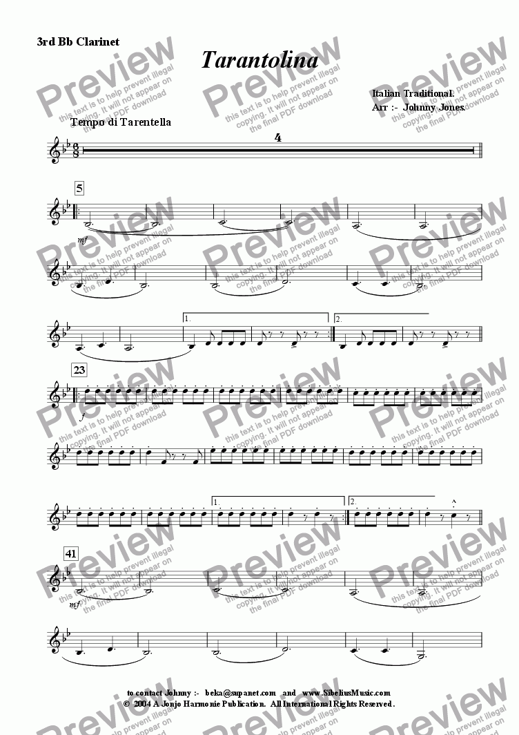 page one of the 3rd Bb Clarinet part from Tarantolina    (Clarinet Choir)